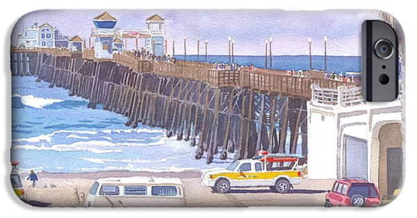 Guard iPhone Cases - Lifeguard Trucks at Oceanside Pier iPhone Case by Mary Helmreich