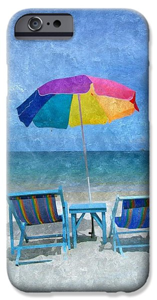 Umbrella Mixed Media iPhone Cases - Lifes a Beach iPhone Case by Karyn Robinson