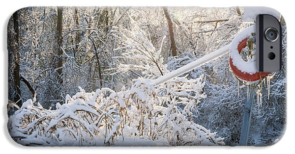 Cold Weather iPhone Cases - Lifesaver in winter snow iPhone Case by Elena Elisseeva