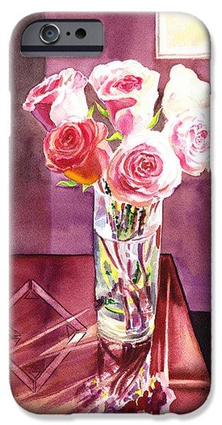 Window Of Life iPhone Cases - Light And Roses Impressionistic Still Life iPhone Case by Irina Sztukowski