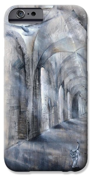 Church Pillars Paintings iPhone Cases - Light and Shadow iPhone Case by Annette Schmucker