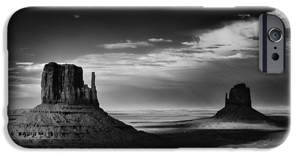 Digital Photography iPhone Cases - Light and Shadows in Monument Valley iPhone Case by Jesse Castellano