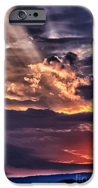 Colorful Cloud Formations iPhone Cases - Light Breaks through Clouds Sunrise iPhone Case by Thomas R Fletcher
