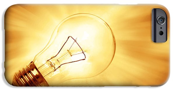 Bulb iPhone Cases - Light bulb  iPhone Case by Les Cunliffe