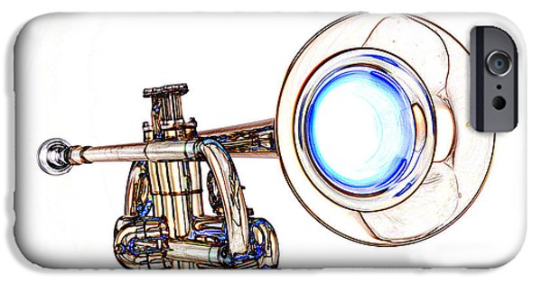 Business Drawings iPhone Cases - Light Color Drawing of a Trumpet Bell Isolated 3018.06 iPhone Case by M K  Miller