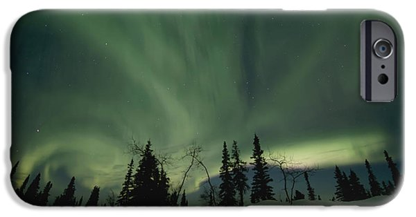 Yukon Territory iPhone Cases - Light Dancers iPhone Case by Priska Wettstein