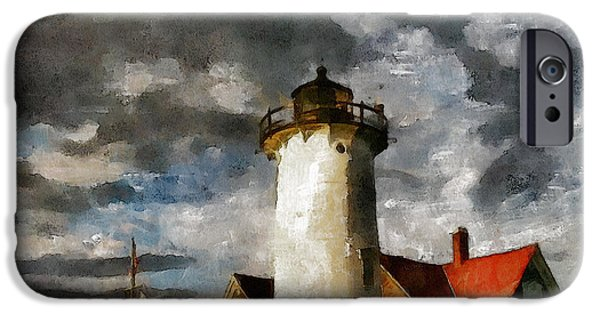 Lighthouse Mixed Media iPhone Cases - Light House In A Storm iPhone Case by Georgiana Romanovna