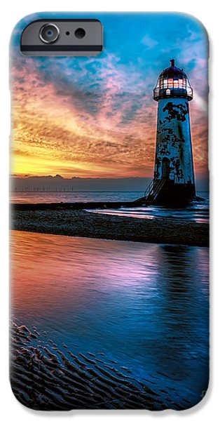 Coastline Digital Art iPhone Cases - Light House Sunset iPhone Case by Adrian Evans