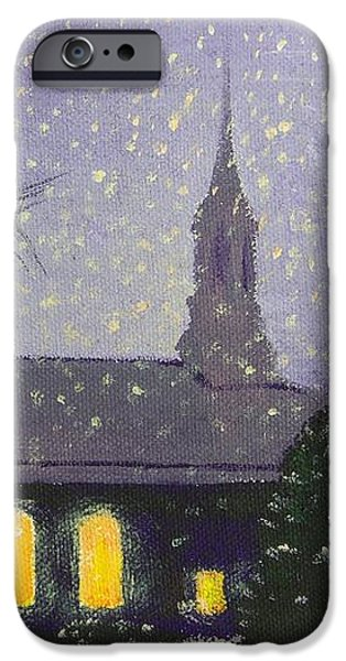 Snowy Night Paintings iPhone Cases - Light in the Darkness iPhone Case by Glenn Harden
