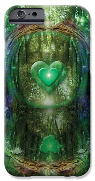 Abstract Digital iPhone Cases - Light in the Forest iPhone Case by Alixandra Mullins