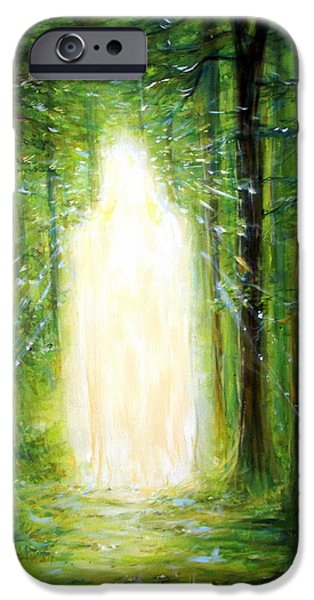 Third Eye Paintings iPhone Cases - Light in the Garden iPhone Case by Heather Calderon