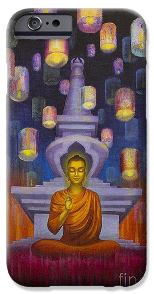 Tibetan Buddhism iPhone Cases - Light of Buddha iPhone Case by Yuliya Glavnaya