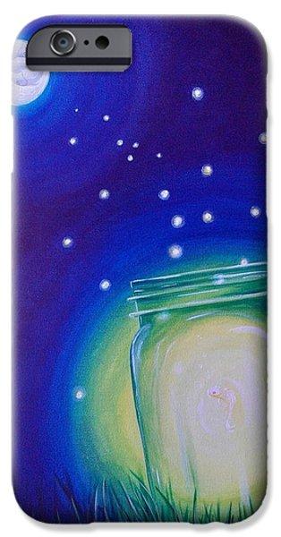 Water Jars Paintings iPhone Cases - Light of the Koi Moon iPhone Case by Deda Happel