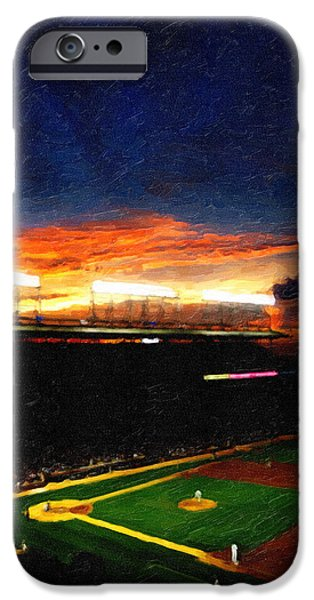 Wrigley Field Digital iPhone Cases - Lights of Wrigley Field iPhone Case by Ryan Cosgrove