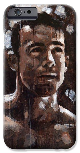 Figures Paintings iPhone Cases - Light on Jason iPhone Case by Douglas Simonson