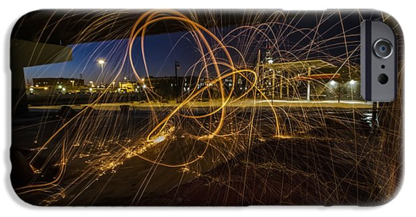 Sparking iPhone Cases - Light Painting under a bridge iPhone Case by Sven Brogren