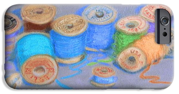 Antiques Pastels iPhone Cases - Light Pastel Spools iPhone Case by Joseph Hawkins