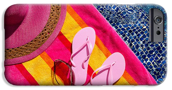The Pool iPhone Cases - Light Pink Flip Flops by the Pool iPhone Case by Teri Virbickis