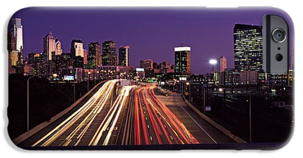 Connection iPhone Cases - Light Streaks Of Vehicles On Highway iPhone Case by Panoramic Images