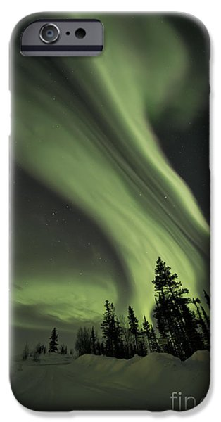 Snowy Night iPhone Cases - Light Swirls Over The Midnight Dome iPhone Case by Priska Wettstein