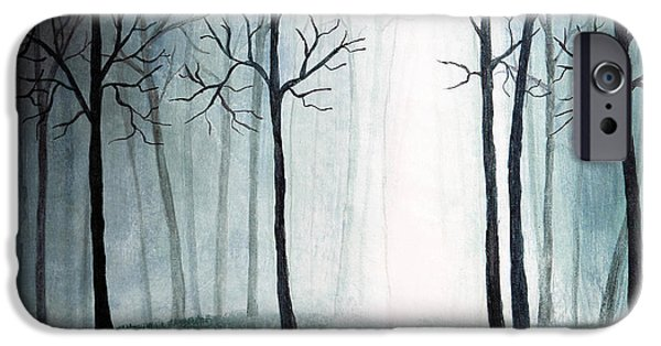 Mist Drawings iPhone Cases - Light through the forest iPhone Case by Nirdesha Munasinghe