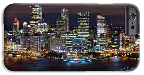 Heinz iPhone Cases - Light Up Night Pittsburgh 3 iPhone Case by Emmanuel Panagiotakis