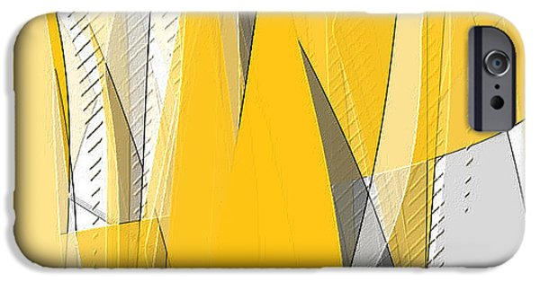 Yellow And Grey Abstract Art iPhone Cases - Lighten Up iPhone Case by Lourry Legarde
