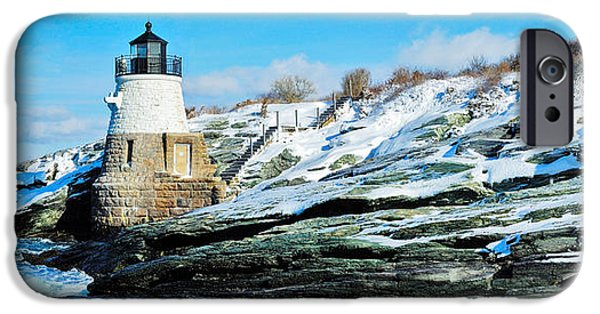 Lighthouse iPhone Cases - Lighthouse Along The Sea, Castle Hill iPhone Case by Panoramic Images