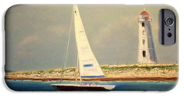 Lighthouse Pastels iPhone Cases - Lighthouse and Sailboat iPhone Case by Jay Johnston