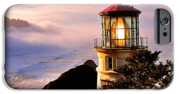 Lighthouse iPhone Cases - Lighthouse At A Coast, Heceta Head iPhone Case by Panoramic Images