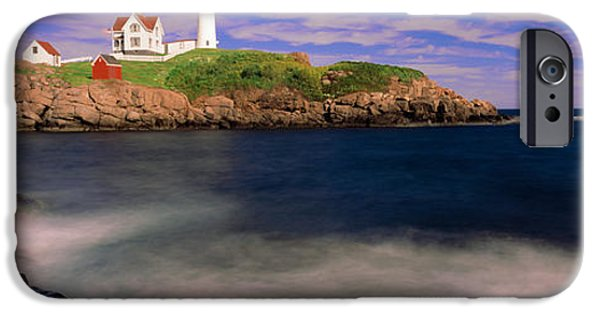 Cape Neddick Lighthouse iPhone Cases - Lighthouse At A Coast, Nubble iPhone Case by Panoramic Images
