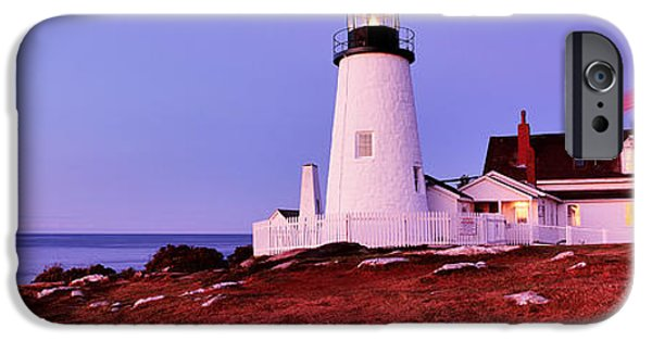 Lincoln iPhone Cases - Lighthouse At A Coast, Pemaquid Point iPhone Case by Panoramic Images