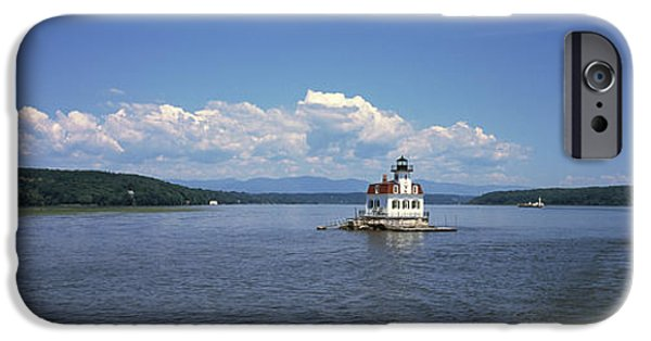 Hudson River iPhone Cases - Lighthouse At A River, Esopus Meadows iPhone Case by Panoramic Images