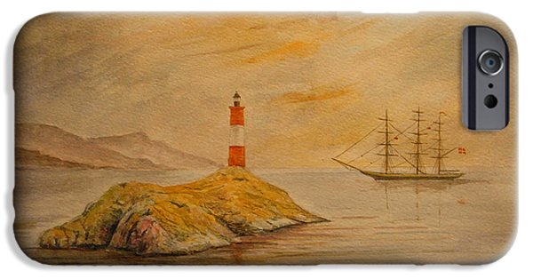 Original Watercolor iPhone Cases - Lighthouse at Cornwall iPhone Case by Juan  Bosco