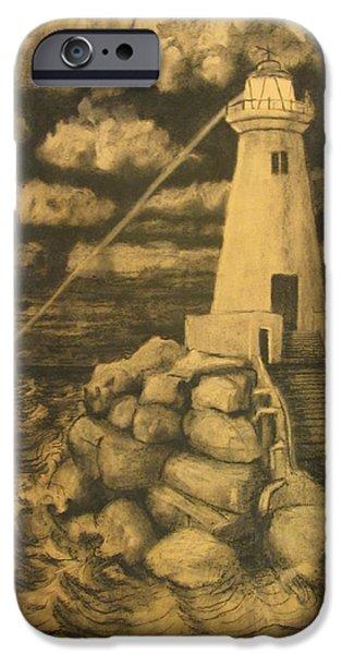 Lighthouse Pastels iPhone Cases - Lighthouse at dusk iPhone Case by John Sekela