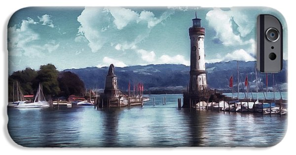 Aquatic Mixed Media iPhone Cases - Lighthouse At Lindau iPhone Case by Georgiana Romanovna