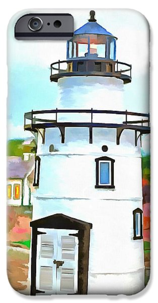 Amusements iPhone Cases - Lighthouse at Old Saybrook Point iPhone Case by Edward Fielding
