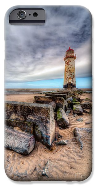 Coastline Digital Art iPhone Cases - Lighthouse at Talacre  iPhone Case by Adrian Evans