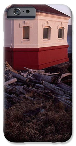 Coos iPhone Cases - Lighthouse At The Coast, Coquille River iPhone Case by Panoramic Images
