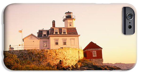 Lighthouse Sea iPhone Cases - Lighthouse At The Coast, Rose Island iPhone Case by Panoramic Images
