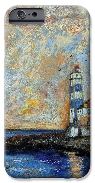 Lighthouse Pastels iPhone Cases - Lighthouse At The End Of The World iPhone Case by Callan Percy