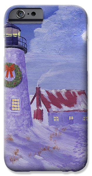 Wreath Paintings iPhone Cases - Lighthouse Christmas iPhone Case by Jerry McElroy