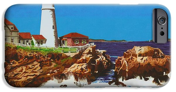 Maine Drawings iPhone Cases - Lighthouse iPhone Case by Cory Still