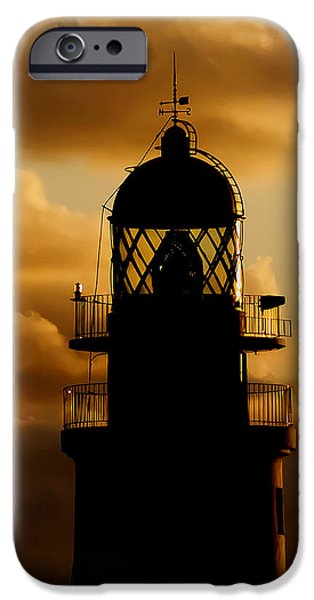 Concept Art iPhone Cases - lighthouse dawn in the north coast of Menorca iPhone Case by Pedro Cardona