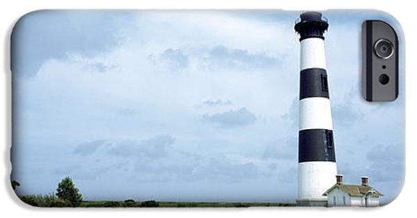 Lighthouse iPhone Cases - Lighthouse In A Field, Bodie Island iPhone Case by Panoramic Images