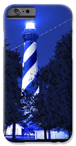 Augustine iPhone Cases - Lighthouse In Blue iPhone Case by Mike McGlothlen