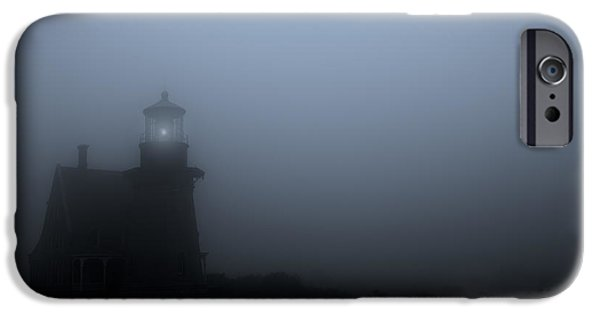 New England Lighthouse iPhone Cases - Lighthouse in Fog iPhone Case by Diane Diederich