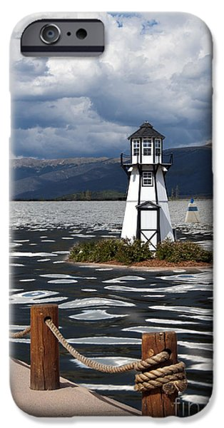 Buildings iPhone Cases - Lighthouse in Lake Dillon iPhone Case by Juli Scalzi