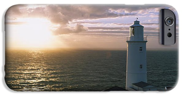 Lighthouse iPhone Cases - Lighthouse In The Sea, Trevose Head iPhone Case by Panoramic Images