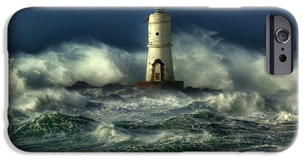 Light Digital iPhone Cases - Lighthouse in the Storm iPhone Case by Gianfranco Weiss